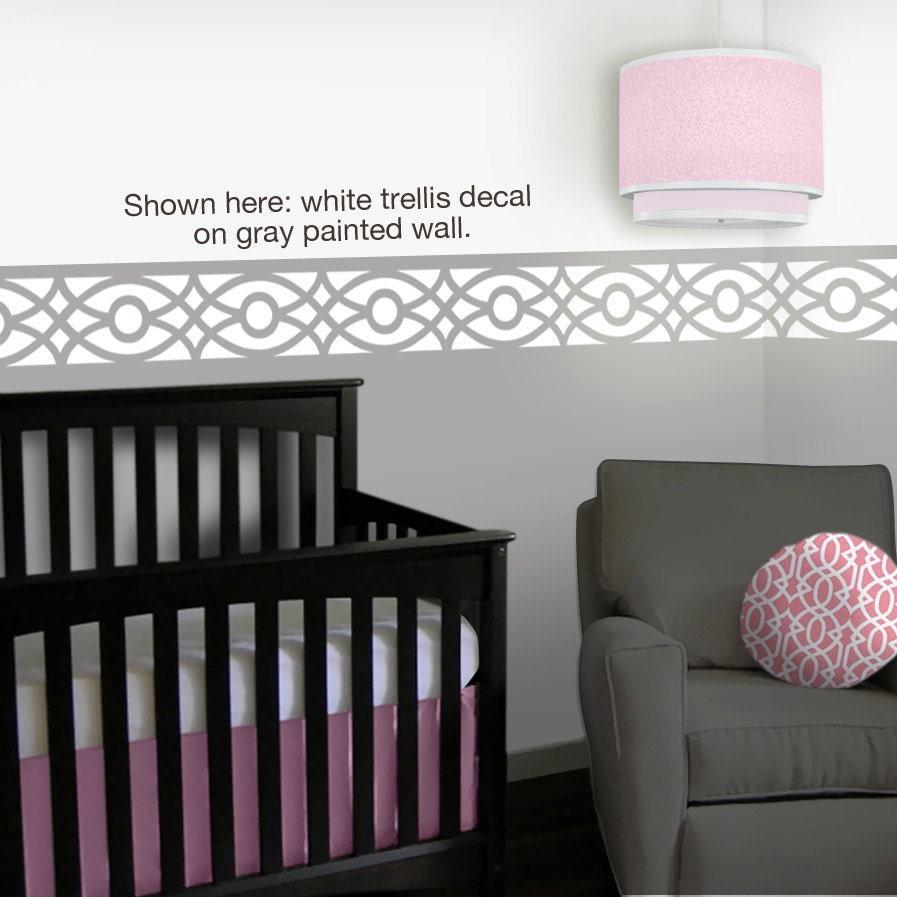 Trellis Nursery Wall Decals 12 Foot Border Pink Gray