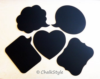 Chalkboard Photo Booth Props 5 Large Wooden Speech Bubbles, Heart and Scroll Chalk Boards for Wedding Photos, Engagement, Pregnancy Pics