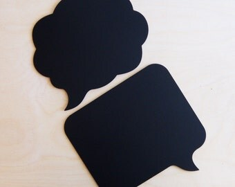 2 Large Chalkboard Speech Bubble  -- Set of 2 Sturdy Wooden Photo Booth Props Chalk Boards for Wedding Engagement Pregnancy Pics