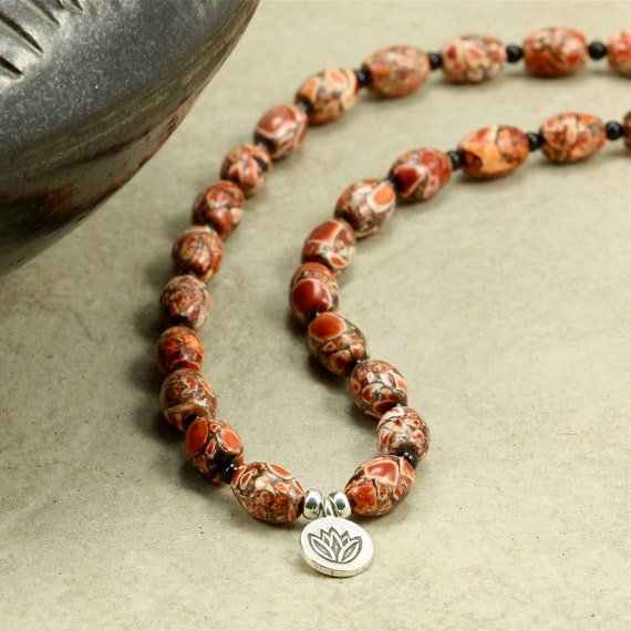 Mosaic Magnesite Necklace with Hill Tribe Silver Lotus Charm, Strand Necklace, Red Necklace, Charm Necklace