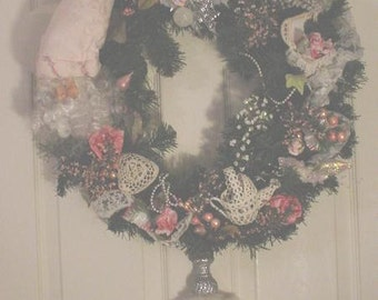 Christmas Wreath Shabby Cottage Chic