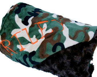 Pet Blanket Camoflauge and Brown Minky Personilization included