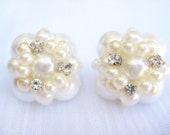 Pearl Cluster Stud Earrings- Pearl Studs- Vintage Inspired Earrings- Pearl Bridal Earrings- Wedding Jewelry- Bridesmaid Jewelry- Pearls