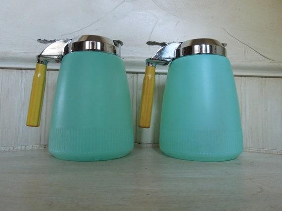Vintage Bakelite Syrup Bottle Aqua Turquoise Vintage Kitchen Bottle