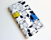 Cow Print Baby Changing Pad - Black and White, Red, Blue and Yellow Cows Vintage Fabric Baby Changing Mat
