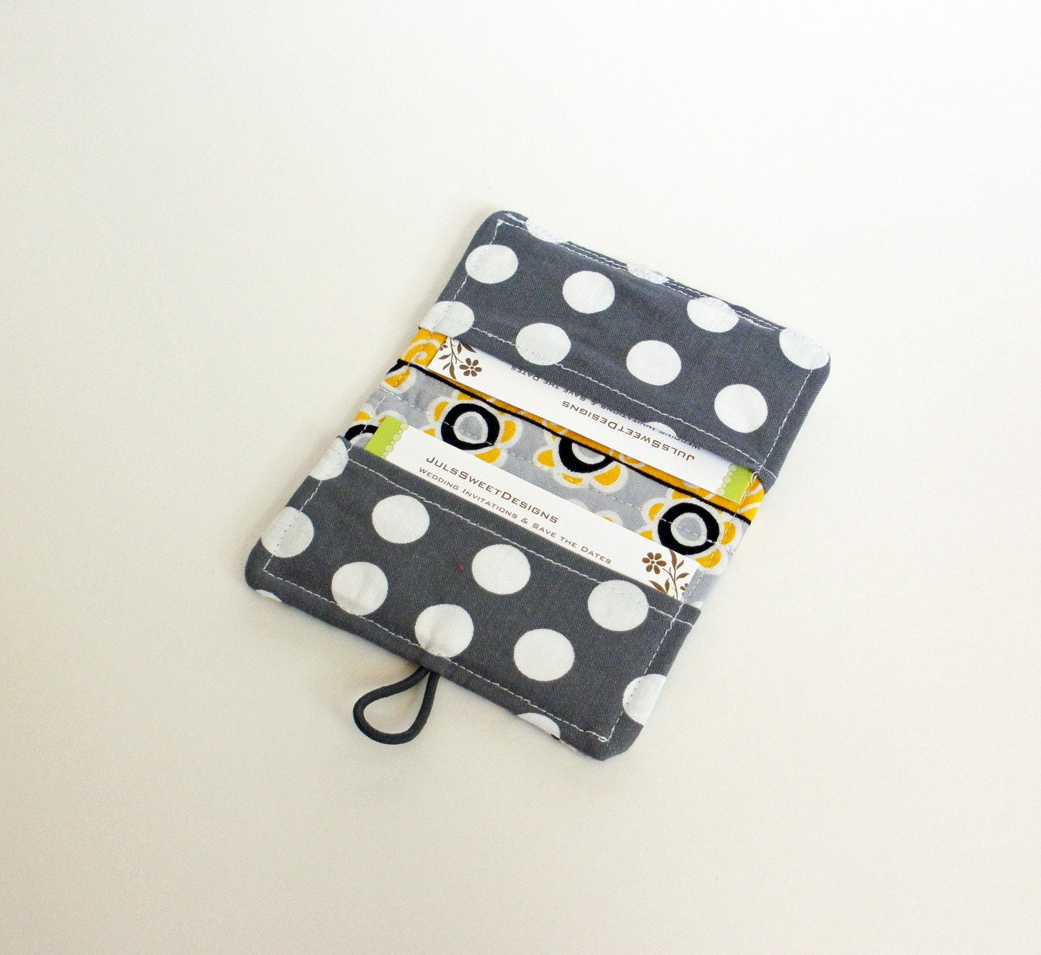 Yellow Grey Stripe Fabric Business Card Holder, with Grey and White ...