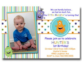 Custom Photo Little Monster Birthday Party or Baby Shower  Invitation Card   - You Print