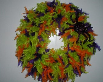Halloween Feather Wreath, Purple, Orange and Lime Green Halloween Feather Wreath, Halloween Wreath, Wreath, Wreaths