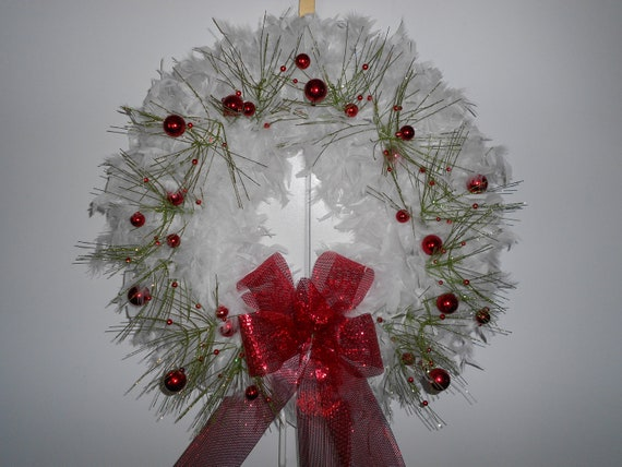 Christmas wreath white feather by thewreaths