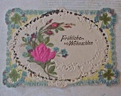Beautiful Little German Victorian Die Cut Christmas Greeting with Roses and German Glitter
