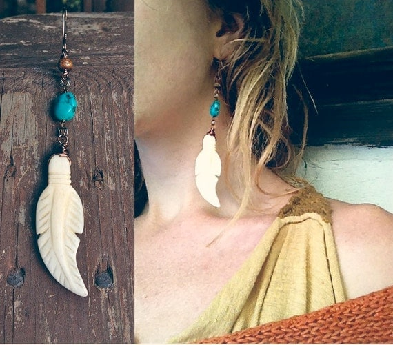 winds of change. a single handcrafted artisan earring of turquoise and bone. 'in stock/ ready to ship'