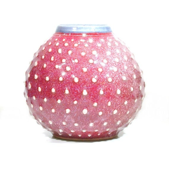 Mid Century Flower Urn - Modern Red Vase - Polka Dot Vessel - Air Plant Vessel - Air Plant Pod - Minimalist Ceramic Orb - Modern Home Decor
