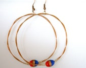 Wire Wrapped Great Hoop Earrings of Twisted Copper Guitar String With Red and Blue Glass Beads