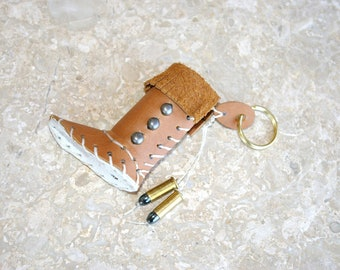 Lip Balm Case Key Chain Leather Moccasin White Sole Gun Metal Studs 22 Bullets