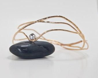 Gemstone Gold Bracelet . Interlocking Gold Multi Bangle Design . White Topaz . Celebrity Style