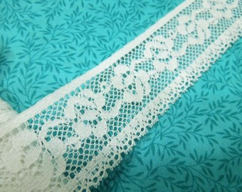 1 yard of 1 1/2 inch White Chantilly Lace trim for bridal, baby, costume design, couture, lingerie by MarlenesAttic - Item PH