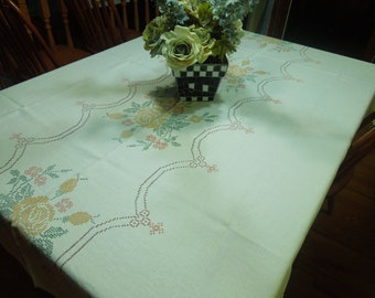 Vintage Off White Kitchen Dining Luncheon Tablecloth with a painted cross stitch embroidery design by MarlenesAttic