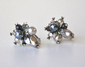 Vintage Signed Vendome Grey Silver Earrings