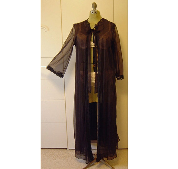 Vintage Black Negligee Robe Peignoir Med - Large