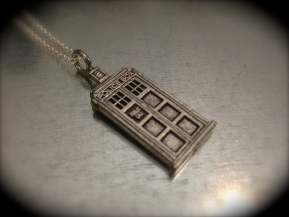 Doctor Who TARDIS Silver Tone Interpreted Charmed Necklace