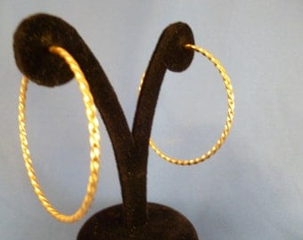 Large Gold Hooped Pierced Earrings. (P91)