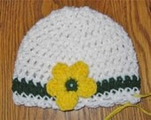 Green Bay Packer crochet baby hat - white, green and gold for newborn and baby girls