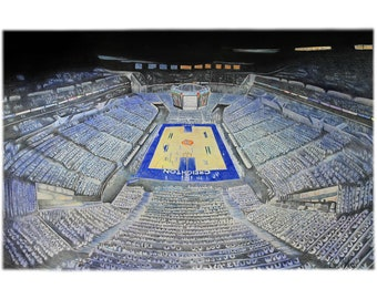 "Creighton University  Basketball  drawing art print limited edition 20""x30"" by Pierre Bolouvi"