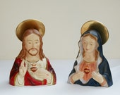 Vintage Jesus and Mary Busts