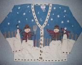 Snowman Winter Wonderland Snow Snowflakes Sweater Snowmen Tacky Gaudy Ugly Christmas Party X-Mas Holiday Warm M Medium