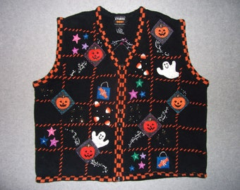 Halloween Sweater Vest Ghosts Candy Corn Jack-O-Lanterns Beaded Zip Up Ugly Christmas Party Contest Winner Tacky Gaudy XL Extra Large