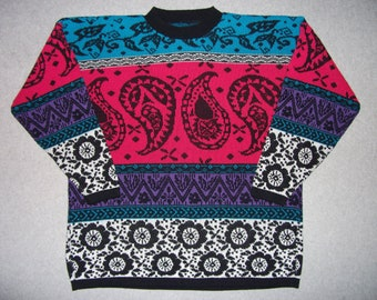 Bright Colorful Nordic Cosby Paisley Ski Sweater Hipster Amazing Tacky Gaudy Ugly Christmas Party X-Mas L Large XL Extra Large