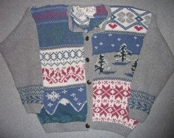 Nordic Ski Winter Sweater Tacky Gaudy Ugly Christmas Party Warm Snow X-Mas Snowflakes M Medium