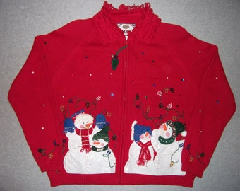 Snowman Family Winter Wonderland Red Zip Up Sweater Winter Warm Snow Snowmen Tacky Gaudy Ugly Christmas Party X-Mas PL Petite Large
