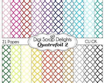 Sale White Background Quatrefoil Digital Scrapbook Paper, CUOK