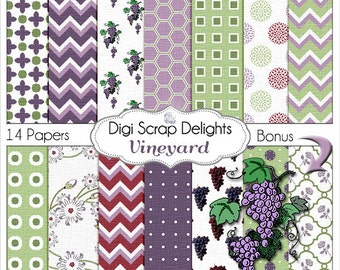 Grape Vineyard Digital Papers in Purples, Green, and Maroon w Grapes Clip Art, Chevron, Quatrefoil for Digital Scrapbook, Instant Download