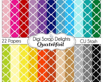 Quatrefoil Digital Scrapbook Paper for Commercial Use - Digital Scrapbooking or Backgrounds: