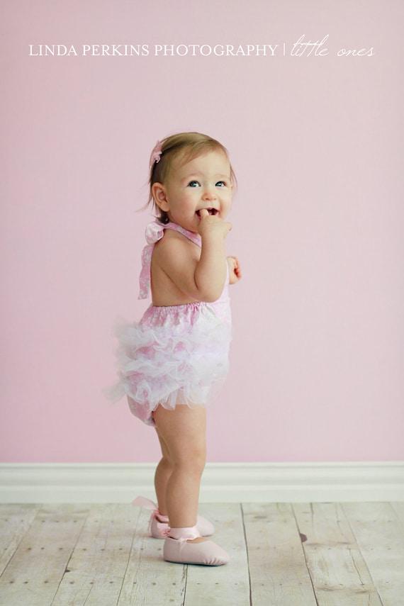 Pink Princess Tulle Shabby Chic Ruffled Retro Baby Girl Sunsuit Romper 0-3mo 3-6mo 6-12mo 12-18mo 18-24mo