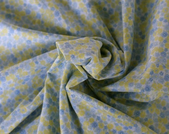 Yellow and Blue Flower Lawn Cotton Fabric, 1 Yard