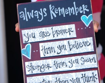 you are braver than you believe handmade  wood sign card