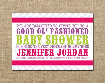 Good Old Fashioned Baby Shower Invitation - Baby Girl - Baby Boy - New Baby - Announcement - Digital File