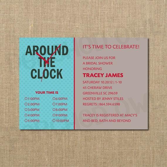 Items similar to around the clock bridal shower invitation for Around the clock bridal shower decoration ideas