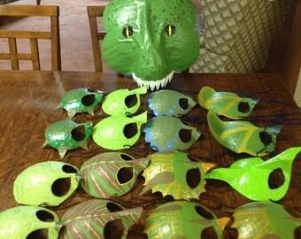 dinosaur masks,  T. rex, triceratops, Kamodo dragon