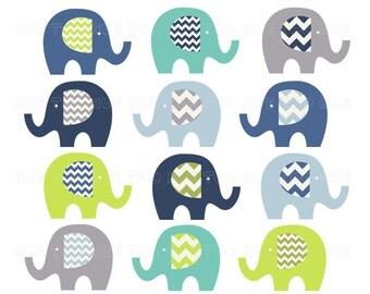 chevron elephant clip art, boys clipart elephants, chevron lime green navy blue turquoise aqua, images invitations baby shower birthday 034