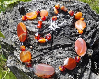Carnelian, Red Agate and Crystal Chain Necklace