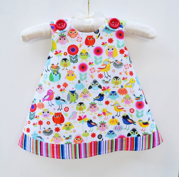 Aline Dress - Holiday Gift - Birds of a Feather - Girls - Handmade Baby Dress - Infant Dress - Modern - Party Dress - 3M to 4T