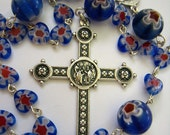 Rosary, Handmade with Blue Heart Millefiori Glass Beads, Holy Family/Holy Spirit Centerpiece (red, white and blue)