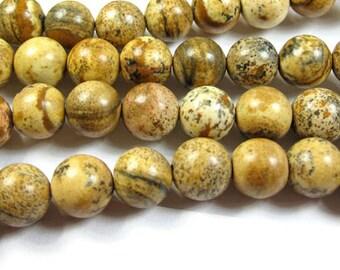 picture jasper round bead 8mm 15 inch strand
