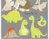 Dinos Clip Art - Digital Clip Art , Commercial Use Clipart, Scrapbook, Printable - Instant Download