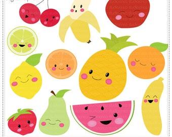 Kawaii Fruits - Digital Clip Art , Commercial Use Clipart, Scrapbook, Printable - Instant Download