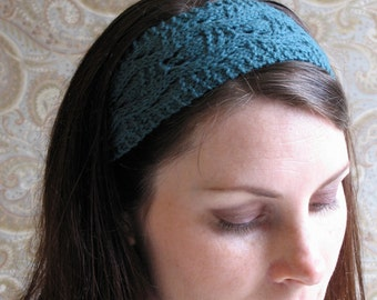 Teal Lace Knit Headband